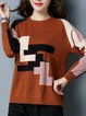 Long Sleeve Crew Neck Color-block Casual Sweater