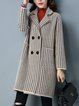 H-line Knitted Long Sleeve Houndstooth Casual Coat