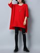 3/4 Sleeve Solid Casual Sweater Dress