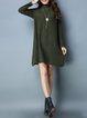 Green Long Sleeve Turtleneck Sweater Dress