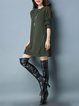 Solid Long Sleeve Casual Crew Neck Shift Sweater Dress