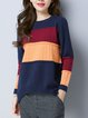 Asymmetric Crew Neck Casual Long Sleeve Knitted Sweater