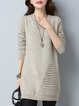 Crew Neck Shift Solid Long Sleeve Casual Sweater Dress