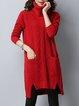 High Low Long Sleeve Casual Sweater Dress