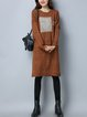 Casual H-line Knitted Long Sleeve Midi Dress
