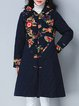 Casual Hoodie A-line Long Sleeve Linen Outerwear