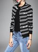 Knitted Crew Neck Long Sleeve Stripes Casual Cardigan