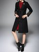 Black Embroidered Long Sleeve Lapel Coat