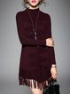 Casual Jacquard Knitted Long Sleeve Sweater Dress