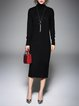Ribbed Shift Casual Long Sleeve Sweater Dress
