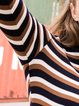 Long Sleeve Stripes Stand Collar Casual Knitted Sweater