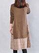 Cotton Long Sleeve Crew Neck Pockets Casual Dress