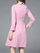 Pink Girly Shirt Collar Midi Dress