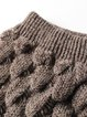 Coffee Knitted Two Piece Casual Bateau/boat Neck Top With Skirt