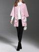Plus Size Crew Neck Elegant 3/4 Sleeve Floral Embroidered Coat