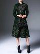 Elegant Floral Stand Collar Long Sleeve Wool Blend Coat