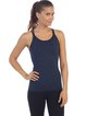 Navy Blue Nylon Moisture Permeability Stretchy Sports Top Camis