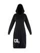 Black Hoodie H-line Cotton-blend Long Sleeve Midi Dress