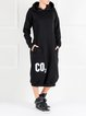 Black Hoodie H-line Cotton-blend Long Sleeve Midi Dress