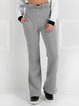 Gray Solid Simple Ruffled Straight Leg Pants