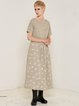 Beige Cotton Casual A-line Square Neck Maxi Dress