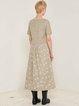 Beige Cotton Casual A-line Square Neck Maxi Dress
