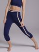 Navy Blue Nylon Stretchy Natural Breathable Sports Bottom Leggings