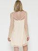 Ivory Shift Plain Girly Bateau/boat Neck Long Sleeve Lace and Bead Embroidery Mini Dress