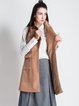 Camel Pockets Lapel Sleeveless Elegant Gilet