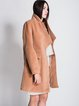 Camel Long Sleeve Pockets Lapel Solid Coat