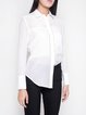 White Basic Solid H-line Long Sleeve Blouse