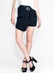 Black Solid Asymmetric Girly Mini Skirt