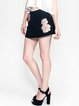 Black A-line Casual Embroidered Shorts