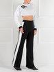 Black Simple Color-block Straight Leg Pants
