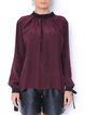 Deep Red Solid Casual Blouse With Bow Detail