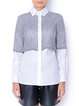 White Paneled Long Sleeve Shirt Collar Blouse