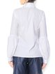 White Shirt Collar Casual Cotton Blouse With Oversize Bell Sleeves