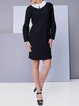 Wool Blend Black Long Sleeve Casual Mini Dress