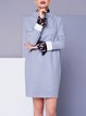 Light Gray Wool Blend Casual Stand Collar Mini Dress