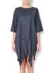 Cashmere Deep Gray Asymmetric Solid 3/4 Sleeve Midi Dress