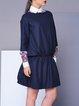 Navy Blue Wool Blend Paneled Bateau/boat Neck Mini Dress