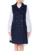 Wool Blend Navy Blue H-line Slit Casual Vest