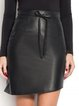 Black Casual Asymmetric Leather Mini Skirt