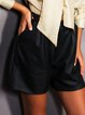 Black Solid Casual Leather Shorts