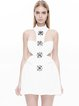 White Beaded Cutout Jacquard Mini Dress