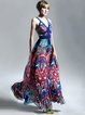 Multicolor Spaghetti Printed Pleated Cutout Maxi Dress