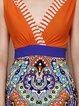 Orange Sleeveless V Neck Printed Maxi Dress