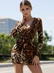 Leopard Print Sexy V Neck Long Sleeve Mini Dress