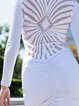 White Plunging Neck Lace up Long Sleeve Mini Dress