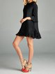 A-line Crew Neck Solid Frill Sleeve Casual Mini Dress